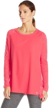 Calvin Klein Women's Mixed Fabric Long Sleeve Tee