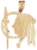 JewelsObsession 14K Yellow Gold Indian Head Pendant - 29 mm (approx. 1.9 grams)