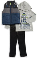 Kids Headquarters Boys 2-7 Puffer Vest, Hooded Thermal and Jeans Set