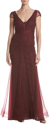 Xscape Evenings Women's Short Sleeve Embroidered Lace Dress