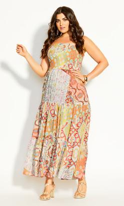 City Chic Saffron Maxi Dress - saffron