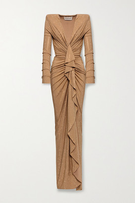 Alexandre Vauthier Ruched Draped Crystal-embellished Stretch-jersey Gown - Beige
