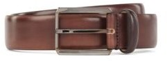 HUGO BOSS Pin Buckle Belt In Vegetable Tanned Italian Leather - Dark Brown