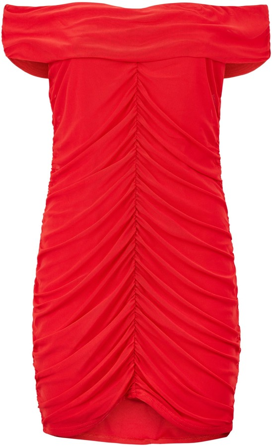 Thumbnail for your product : New Look Missfiga Ruched Mesh Bardot Dress