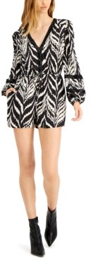 Bar III Ikat-Print Drawstring-Waist Romper, Created for Macy's