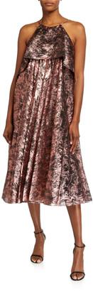 Halpern Metallic Burnout Halter Midi Dress