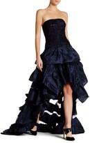 Oscar de la Renta Embellished Strapless Ruffle Gown