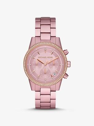 Michael Kors Ritz Pave Pink-Tone Aluminum Watch