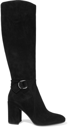 Gianvito Rossi Lucas 85 Buckled Suede Knee Boots