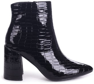 Little Mistress Footwear Linzi Alice Black Croc Patent Block Heeled Boots With Pointed Toe