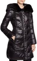 T Tahari Austin Quilted Faux Fur Trim Coat
