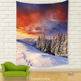 Vipsung House Decor Tapestry_Winter Decorations By Epic Cloudy Sky Over Majestic Mountains And Footsteps On Valley Decor Orange White_Wall Hanging For Bedroom Living Room Dorm