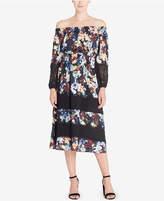 Catherine Malandrino Olive Off-The-Shoulder Peasant Dress