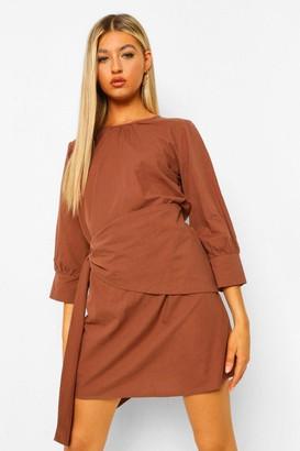 boohoo Tall Wrap Front Woven Mini Dress