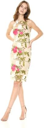 Calvin Klein Women's Sleeveless Lace Sheath with Illusion Neckline Dress