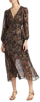 The Kooples Paisley Metallic Silk Midi Dress