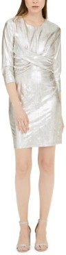 INC International Concepts Inc Metallic Twist-Front Dress, Created for Macy's