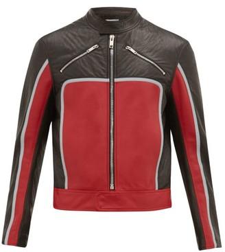 Givenchy Logo Applique Leather Biker Jacket - Black Red