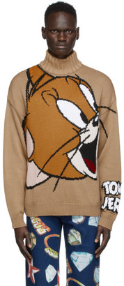 GCDS Beige Tom and Jerry Edition Knit Jerry Sweater