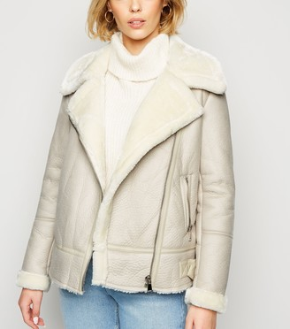 New Look Coated Leather-Look Aviator Jacket