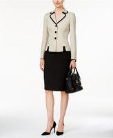 Le Suit Contrast Three-Button Skirt Suit