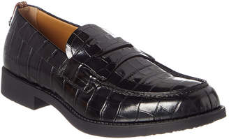 Burberry Croc-Embossed Leather Loafer