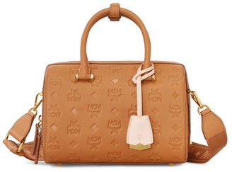 MCM Essential Monogrammed Leather Boston Bag