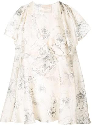 Erika Cavallini Floral Print Silk Blouse