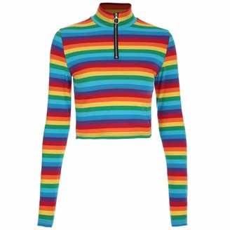 Reooly Womens Turtleneck Rainbow Striped Color Zipper Cropped Tops
