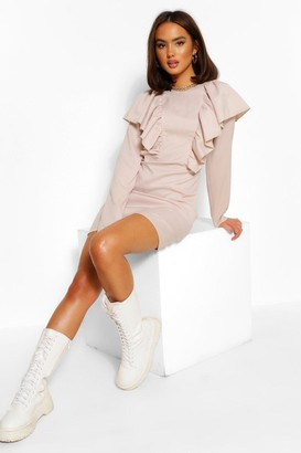 boohoo Ruffle Detail Long Sleeve Shift Dress