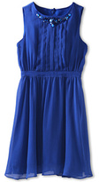 Us Angels Crinkle Chiffon Pleated Front Dress w/ Jewel Detail (Big Kids)