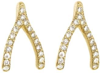 Jennifer Meyer Diamond Wishbone Stud Yellow Gold Earrings