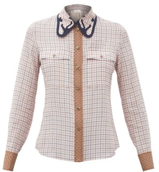 Chloé Checked Silk-crepe Blouse - Pink Multi