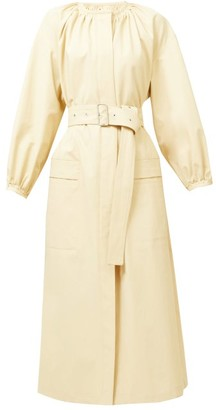 Jil Sander Nia Gathered-neck Belted Midi Dress - Cream