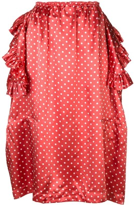 Comme des Garcons Pre-Owned deconstructed ruffle polka dot skirt