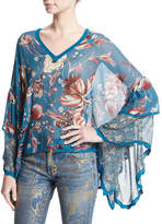 Roberto Cavalli Forbidden Fruit Flowy-Sleeve Tunic, Blue