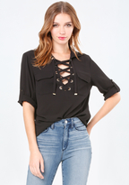 Bebe Lace Up Pocket Top