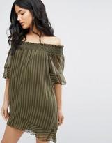 Daisy Street Striped Off The Shoulder Swing Dress