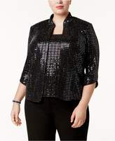 Alex Evenings Plus Size Sequined Jacket and Shell