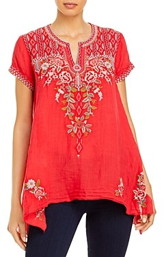 Johnny Was Cyrielle Embroidered Silk Top