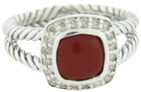 David Yurman Petite Albion 925 Sterling Silver with Carnelian & Diamond Ring Size 6