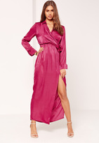 Missguided Satin Wrap Collar Maxi Dress Pink