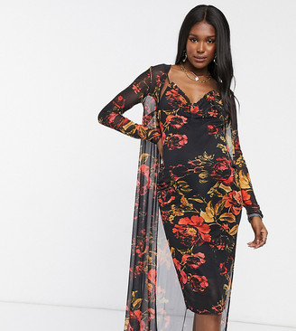 Hope & Ivy Maternity 90s slip dress and duster set in black floral