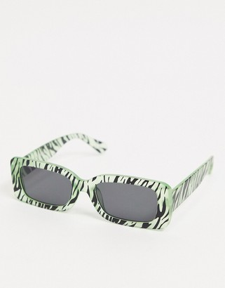 ASOS DESIGN mid square sunglasses in glow in the dark zebra