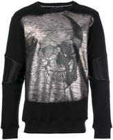Philipp Plein metallic skull print top