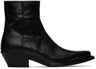 Saint Laurent Black Python Lukas Boots