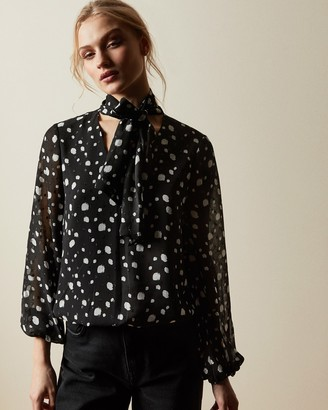 Ted Baker THERRA Polka dot top with tie neck detail