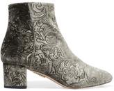 Aquazzura Baroque Embossed Velvet Ankle Boots - Gray