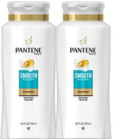 Pantene Smooth and Sleek Shampoo, 25.4 Fl Oz (Pack of 2) - With Argan Oil (Packaging May Vary)