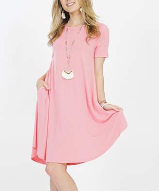 Lydiane Women's Casual Dresses ROSEPINK - Rose Pink Crewneck Short-Sleeve Curved-Hem Pocket Tunic Dress - Women